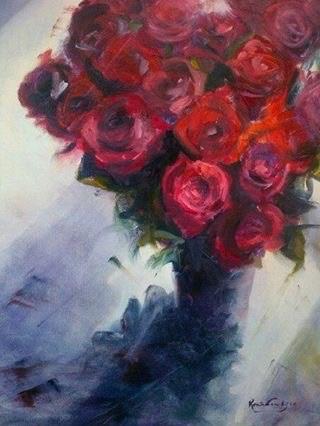 """""""Crimzon bunch"""" original fine art by Rentia Coetzee"""