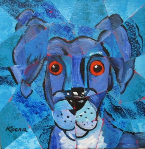 """""""Blue Dog"""" original fine art by George Kocar"""