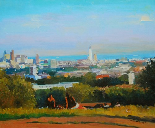"""The London Skyline from Parliament Hill"" original fine art by Adebanji Alade"