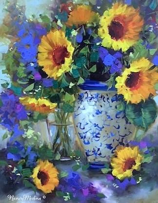"""Petal Rain Sunflowers - Flower Paintings by Nancy Medina"" original fine art by Nancy Medina"