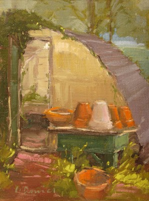 """Little Shady Greenhouse"" original fine art by Laurel Daniel"