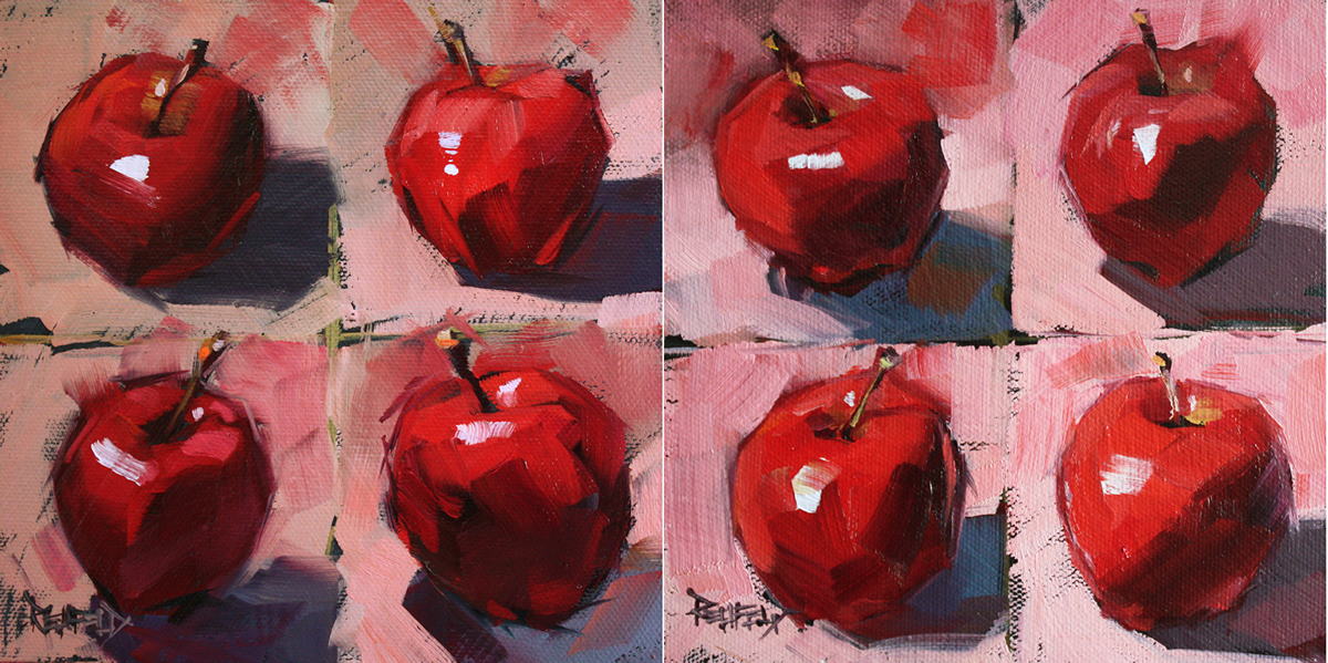 """Apple Challenge One and Two (2 paintings)"" original fine art by Cathleen Rehfeld"