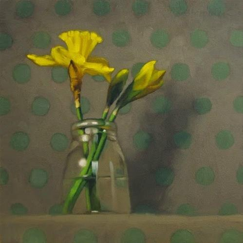 """Daffodils on Dots Jennifer Lopez & American Idol"" original fine art by Diane Hoeptner"
