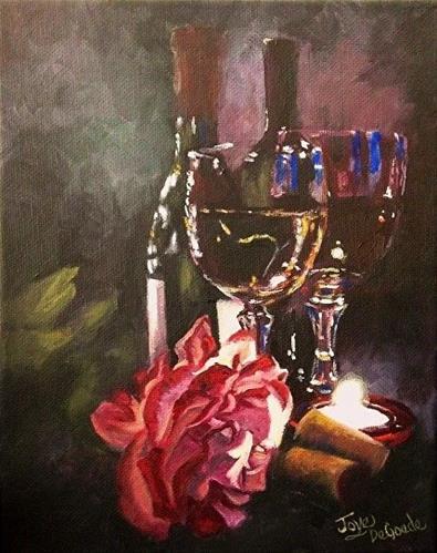"""""""Chiaroscuro Wine & Rose Series #4 by Joye DeGoede www.Joyesart.com"""" original fine art by Joye DeGoede"""