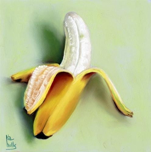 """simple elegant banana pastel painting"" original fine art by Ria Hills"
