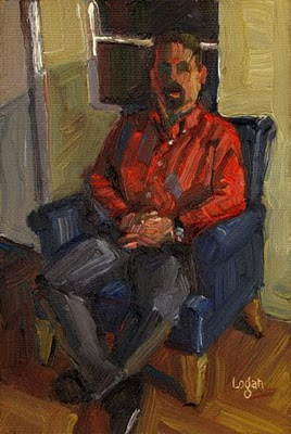 """Joe in Blue Chair"" original fine art by Raymond Logan"