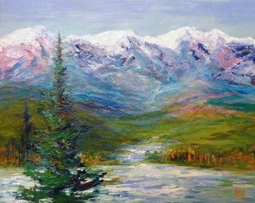 """1010 - Yukon with Tree - Wide White Designer Frame"" original fine art by Sea Dean"