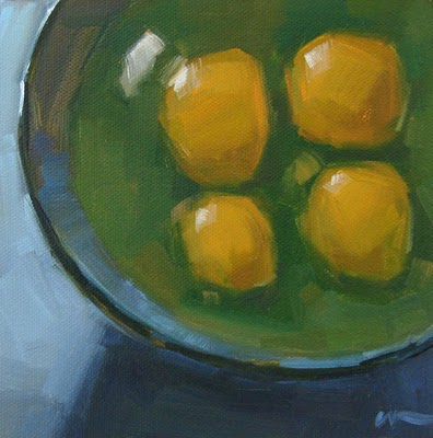 """Four Yolks --- SOLD"" original fine art by Carol Marine"