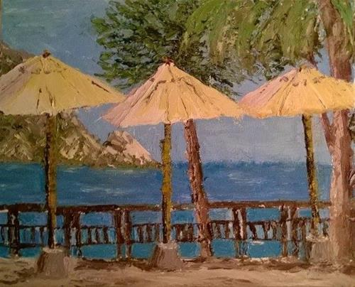 """Sea View with Umbrellas"" original fine art by Jules Fine Art Gallery"