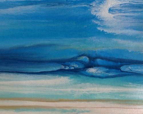 """Abstract Seascape,Coastal Living Decor,Beach Art Royal Wave Study 1 by Colorado Contemporary Artis"" original fine art by Kimberly Conrad"
