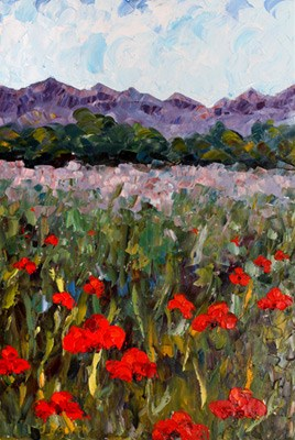"""""""Palette Knife Poppy Landscape Painting Hopping Through The Poppies  by Colorado Impressionist Judi"""" original fine art by Judith Babcock"""