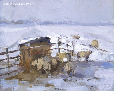 """Landscape winter 7 Painting sheep in morning light (on hold)"" original fine art by Roos Schuring"