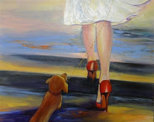 """4136 - Walking in Paris - Exhibition Size"" original fine art by Sea Dean"