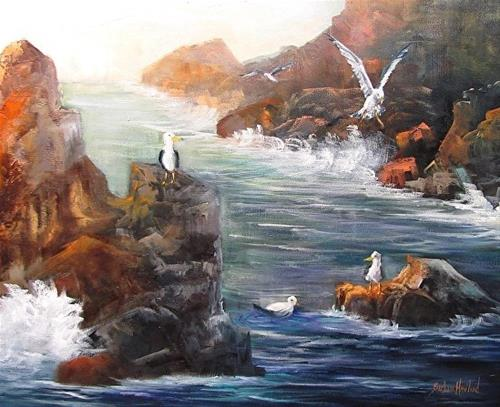 """Gulls and The Sea  Rocks California Coast"" original fine art by Barbara Haviland"