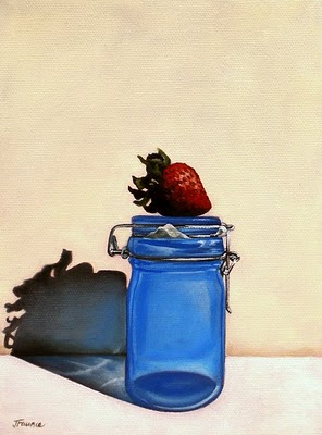 """Strawberry Preserve Jar"" original fine art by Jelaine Faunce"