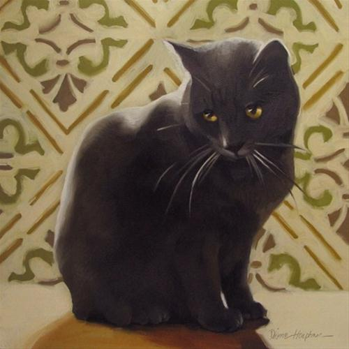 """Sad Coco sentimental painting of sad cat"" original fine art by Diane Hoeptner"