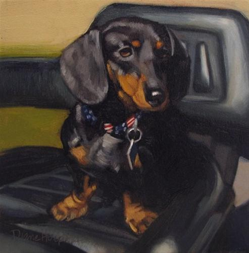 """Jessie cute dog painting pet portrait"" original fine art by Diane Hoeptner"