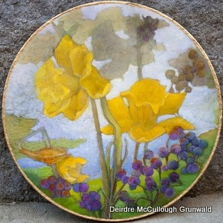 """Daffodils with Grapes"" original fine art by Deirdre McCullough Grunwald"