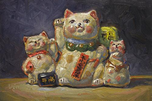 """Cat Bank Trio"" original fine art by Raymond Logan"