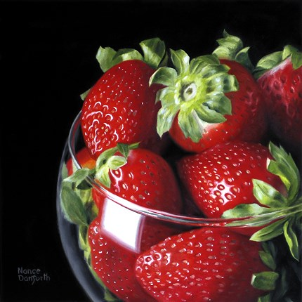 """Strawberries In Brandy Glass III"" original fine art by Nance Danforth"