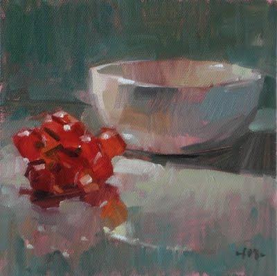 """""""Grapes & Bowl"""" original fine art by Carol Marine"""