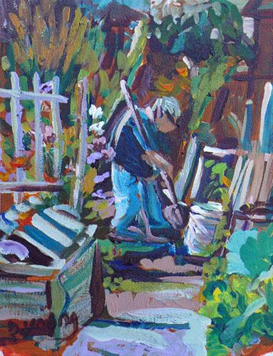 """Garden Work"" original fine art by Darlene Young"