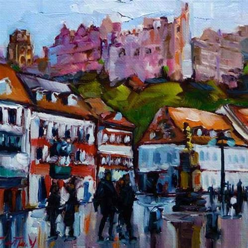"""Heidelberg, Kornmarkt"" original fine art by Jurij Frey"