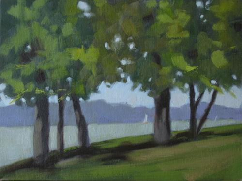 """Juniper Beach, Ohio River  9x12  oil sketch"" original fine art by Claudia Hammer"