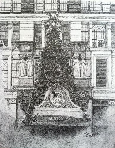 """Christmas in NYC Stippling (all dots) by Joye DeGoede"" original fine art by Joye DeGoede"