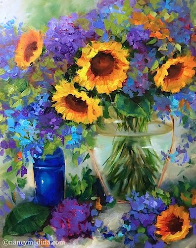 """Golden Halo Sunflowers and Hydrangeas - Flower Paintings by Nancy Medina"" original fine art by Nancy Medina"