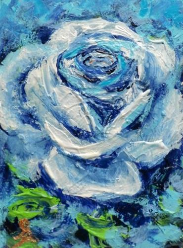 """3244 - ONCE IN A BLUE ROSE - ACEO Series"" original fine art by Sea Dean"