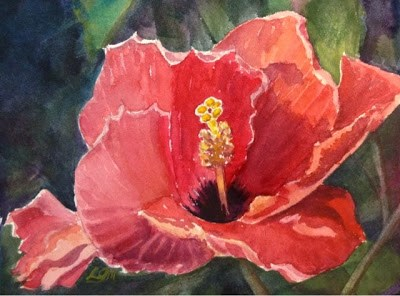 """Day 10 - Salmon Hibiscus"" original fine art by Lyn Gill"