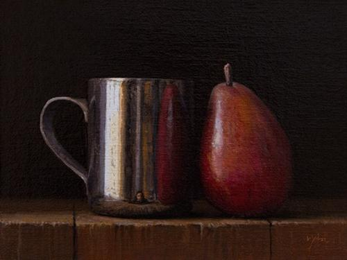 """Still Life with Silver Cup and Red Pear"" original fine art by Abbey Ryan"