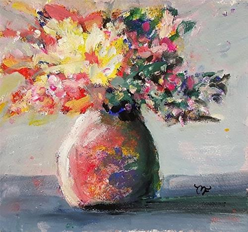 """Vase with Yellow Flowers"" original fine art by Mechele Flowers"