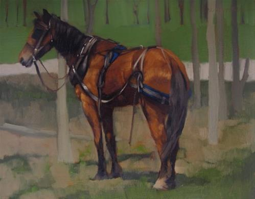 """Amish Buggy Horse and reception at Gallery + 78th ST Studios"" original fine art by Diane Hoeptner"