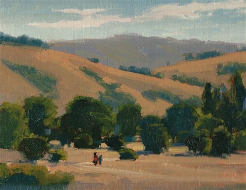 """A walk in the park"" original fine art by J. Thomas soltesz"