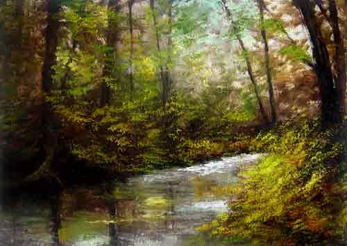 """Shady Stream"" original fine art by Bob Kimball"