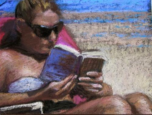 """Book on the Beach"" original fine art by Janet Zabilski"