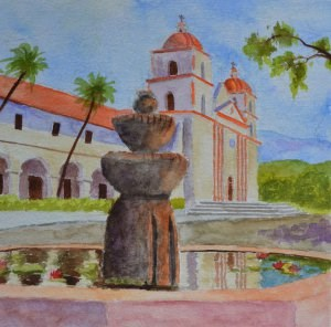 """Santa Barbara Mission"" original fine art by Robert Frankis"