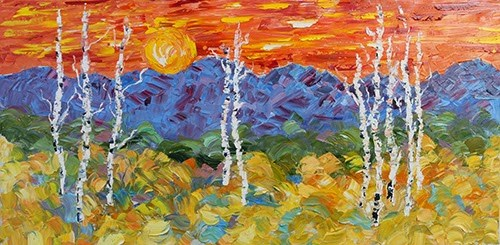 """Palette Knife Aspen Tree Colorado Landscape Painting Field of Color by Colorado Impressionist Judi"" original fine art by Judith Babcock"