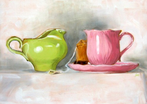 """Tea for One"" original fine art by Sandy Haynes"