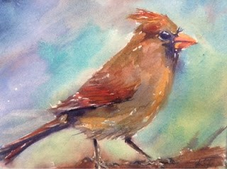 """Day 9 - Ms. Redbird 2"" original fine art by Lyn Gill"