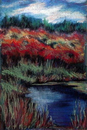 """Fall In The Bog"" original fine art by Maria Levandowski"