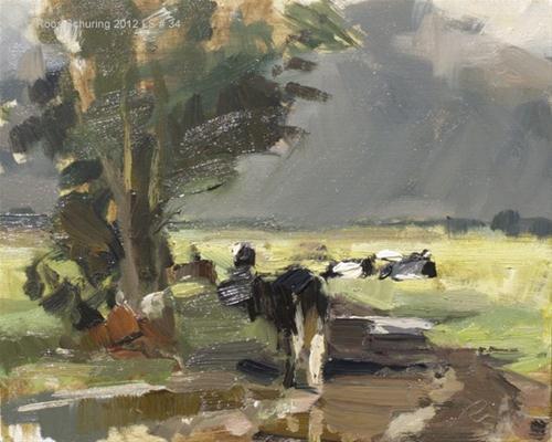 """Landscape spring #34 Cow walking light and findings - Koeien"" original fine art by Roos Schuring"