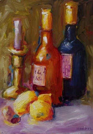 """Wine and Lemons"" original fine art by Alice Harpel"