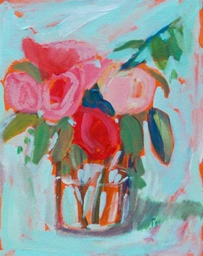 """Red and Pink Blooms"" original fine art by Pamela Munger"