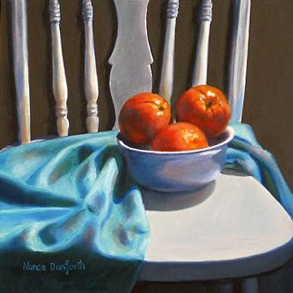 """""""Oranges on White Chair"""" original fine art by Nance Danforth"""