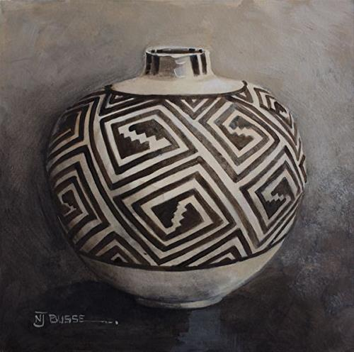 """Anasazi Pots, Still Life Art Painting ANASAZI BLACK ON WHITE OLLA  by Colorado Artist Nancee Jean"" original fine art by Nancee Busse"