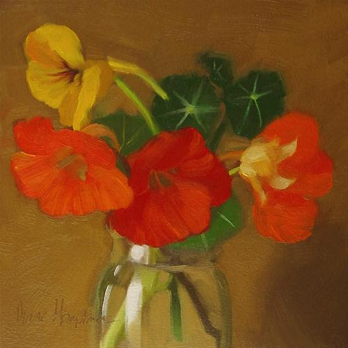 """Fall Flowers painting of nasturtium orange"" original fine art by Diane Hoeptner"