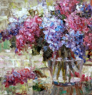 """Lilac Bouquet"" original fine art by Julie Ford Oliver"